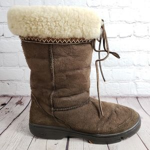 Ugg Hard Sole Leather Brown Boots Womens 9 Shoes